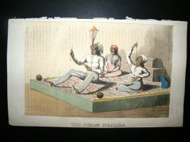 Ackermann (Pub) 1813 Aquatint. Indian Fakir Jugglers. Hand Col Print